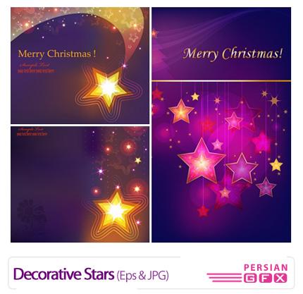 دانلود وکتور بک گراند تزیئنی، مدرن، ستاره - Decorative Stars