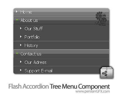 دانلود کامپوننت فلش، کامپوننت منوی آکوردنی درختی در فلش - Flash Accordion Tree Menu Component