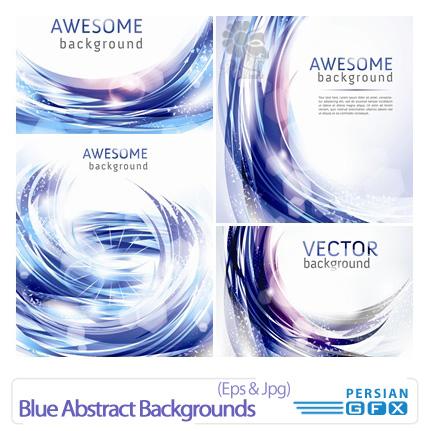 دانلود وکتورهای بک گراند انتزاعی آبی رنگ - Blue Abstract Backgrounds
