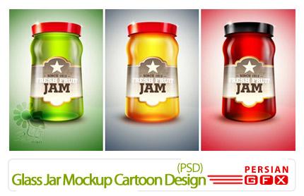 دانلود پیش نمایش طراحی برچسب شیشه - Glass Jar Mockup Cartoon Design