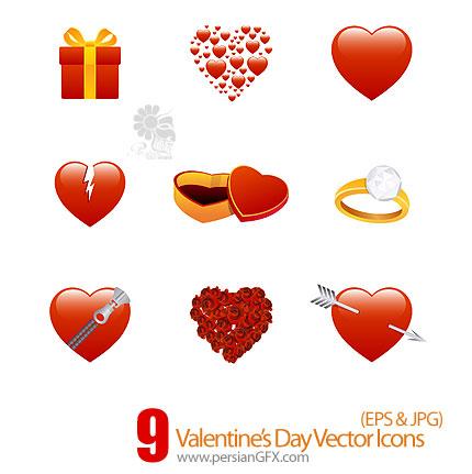 دانلود آیکون های ولنتاین - Valentine's Day Vector Icons