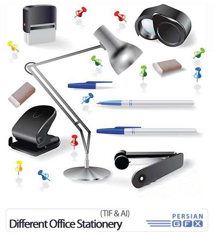 دانلود تصاویر وکتور لوازم التحریر اداری متنوع - Different Office Stationery