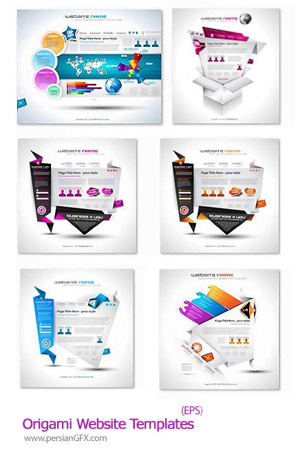 دانلود تصاویر وکتور قالب های اوریگامی برای وب سایت - Origami Website Templates 25 EPS Vector Stock