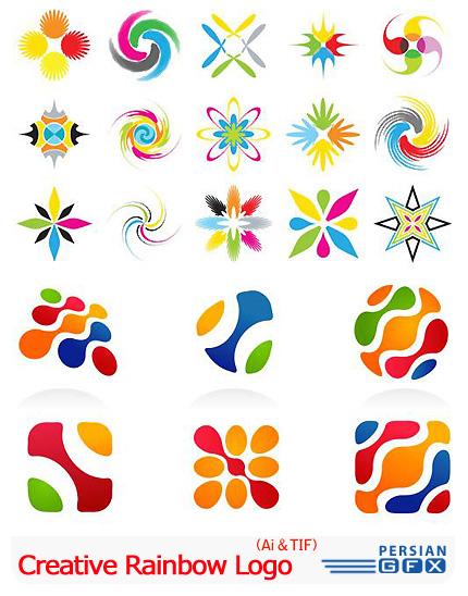 دانلود تصاویر لوگوهای خلاقانه رنگین کمان - Vectors Creative Rainbow Logo