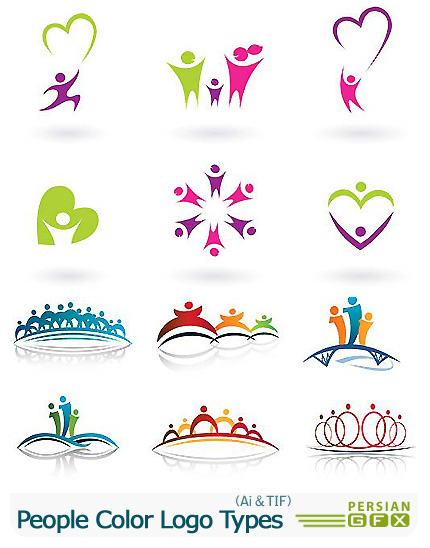 دانلود تصاویر لوگوهای آدمک های رنگارنگ - People Color Logo Types
