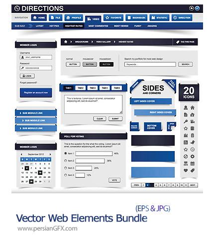 دانلود تصاویر وکتور قالب وب سایت های نرم افزار - Vector Web Elements Bundle