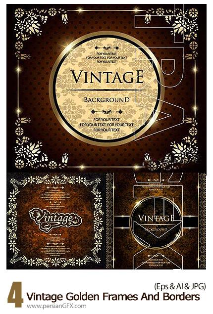 دانلود فریم و حاشیه های گلدار طلایی - Vintage Golden Frames And Borders