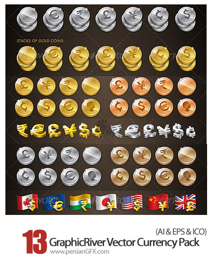 دانلود وکتورآیکون های ارز گرافیک ریور - GraphicRiver Vector Currency Pack