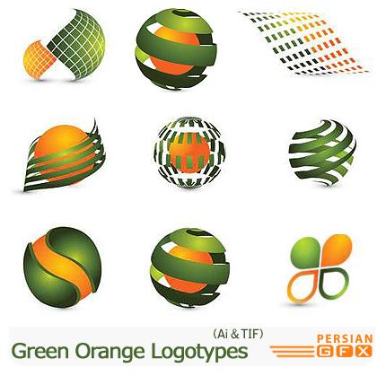 دانلود تصاویر لوگوهای انتزاعی سبز و نارنجی - Green Orange Logotypes