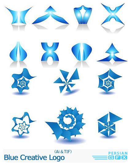 دانلود تصاویر لوگوهای متنوع انتزاعی آبی - Blue Creative Logo
