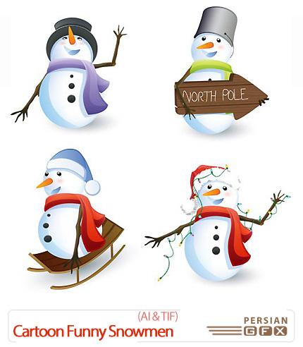 دانلود تصاویر وکتور آدم برفی های کارتونی خنده دار - Cartoon Funny Snowmen