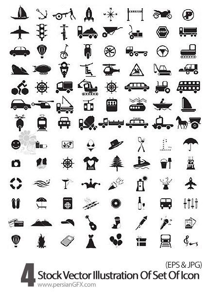 دانلود تصاویر وکتورآیکون های متنوع مشکی - Vector illustration of set of icon