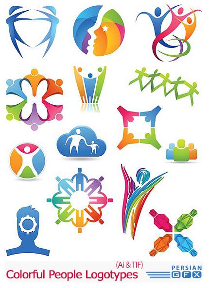 دانلود تصاویر لوگوهای آدمک های رنگارنگ - Colorful People Logotypes
