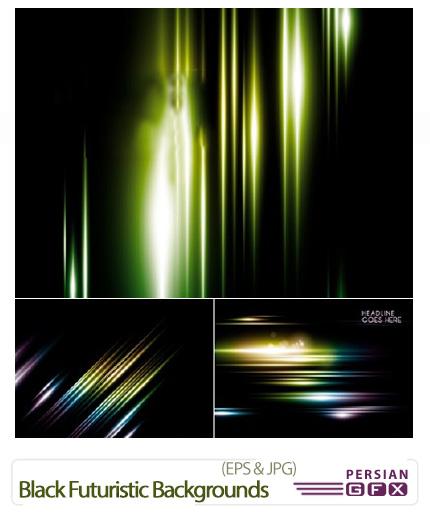 دانلود تصاویر وکتور پس زمینه های سیاه با هاله های رنگی - Black Futuristic Backgrounds Vector
