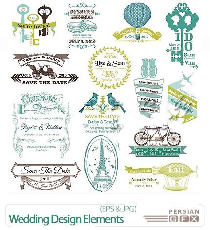 دانلود تصاویر وکتور طراحی کارت عروسی - Wedding Design Elements Vector