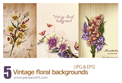 دانلود تصاویر وکتور فریم گلدار - Vintage Floral Backgrounds