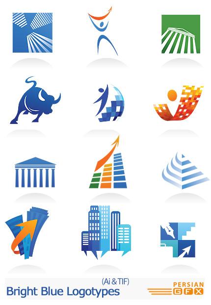 دانلود تصاویر لوگوهای ساختمانی آبی - Bright Blue Logotypes