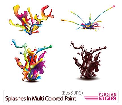 دانلود تصاویر وکتور رنگ های متنوع پاشیده شده - Splashes In Multi Colored Paint