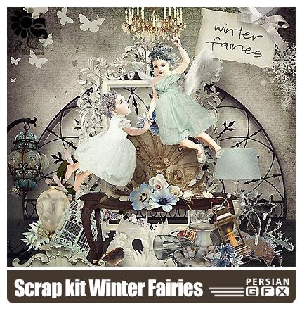 دانلود کلیپ آرت زمستانی ،عناصر طراحی، پری، گل - Scrap kit Winter Fairies