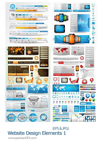 دانلود تصاویر وکتور قالب های متنوع برای وب سایت - Website Design Elements 01
