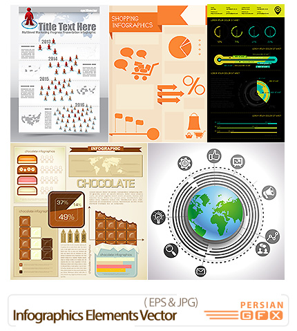 دانلود تصاویر وکتور عناصر طراحی نمودار اینفوگرافیکی - Infographics Elements Vector