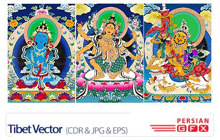 دانلود تصاویر کورل، وکتور های نقاشی تبتی، خدایان بودایی - Tibet Vector
