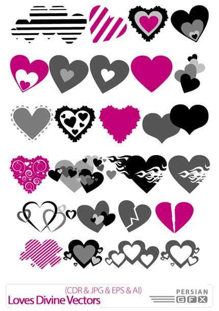 دانلود تصاویر کورل طرح های متنوع قلب - Loves Divine Vectors
