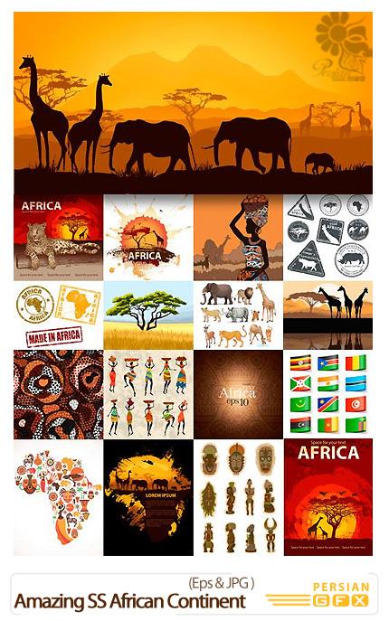 دانلود تصاویر وکتور قاره آفریقا، حیوانات، نقشه، مجسمه از شاتر استوک - Amazing Shutterstock African Continent