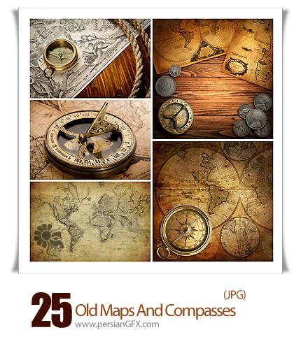 دانلود تصاویر با کیفیت نقشه قدیمی و قطب نما - Old Maps And Compasses