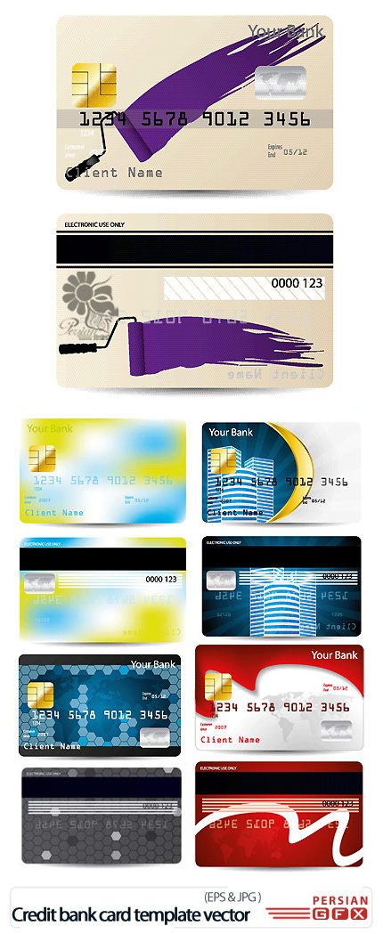 دانلود تصاویر وکتور قالب آماده کارت اعتباری بانک -  Credit Bank Card Template Vector