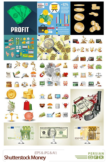 دانلود تصاویر وکتور پول، دلار، سکه، اسکناس از شاتر استوک - Shutterstock Money