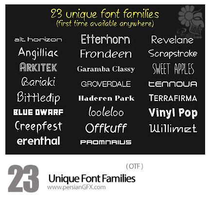 دانلود فونت انگلیسی متنوع - 23 Unique Font Families