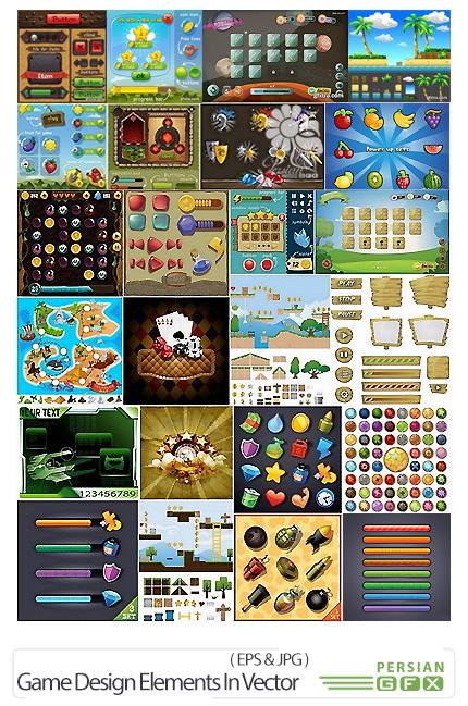 دانلود تصاویر وکتور عناصر طراحی بازی های کامپیوتری - Game Design Elements In Vector