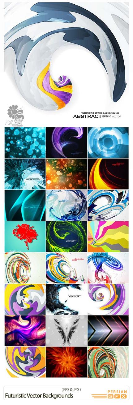 دانلود تصاویر وکتور پس زمینه های انتزاعی - Futuristic Vector Backgrounds