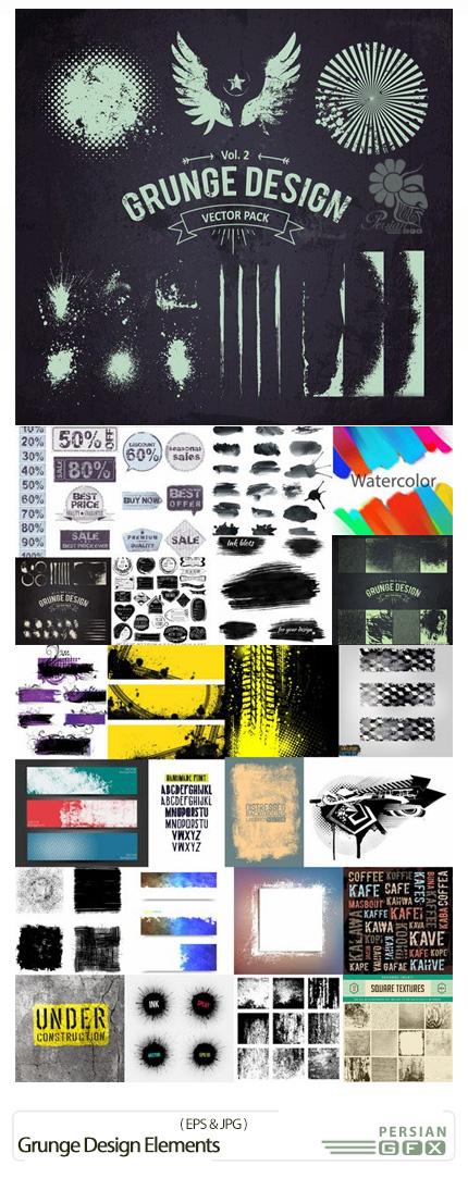دانلود تصاویر وکتور عناصر طراحی گرانج - Grunge Design Elements