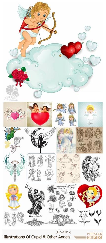 دانلود تصاویر وکتور کوپیدو، خدای عشق و فرشته های دیگر - Illustrations Of Cupid And Other Angels