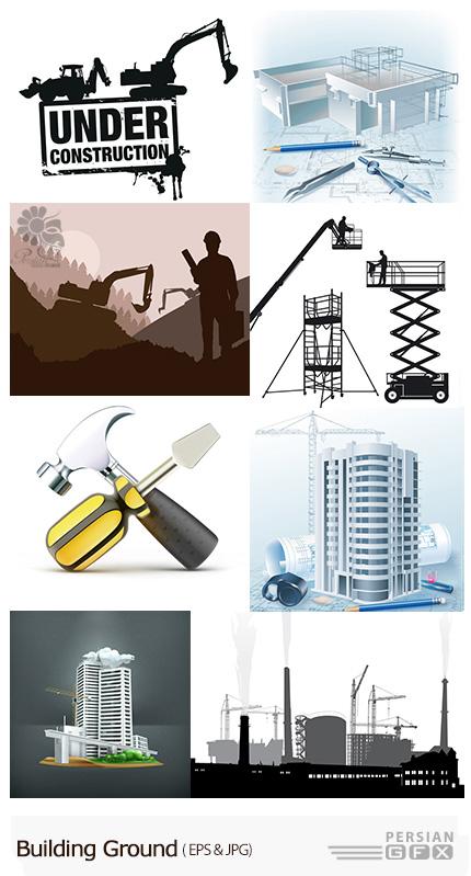 دانلود تصاویر وکتور ساختمان، ساخت و ساز، نقشه ساختمان - Building Ground