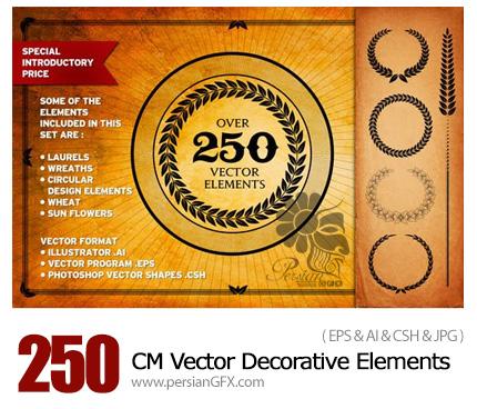 دانلود 250 تصویر وکتور از عناصر تزئینی متنوع - CM Over 250 Vector Decorative Elements