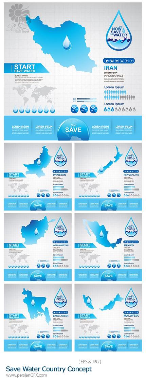 دانلود تصاویر وکتور اینفوگرافی، نمودار صرفه جویی آب در کشورهای مختلف - Save Water Country Concept