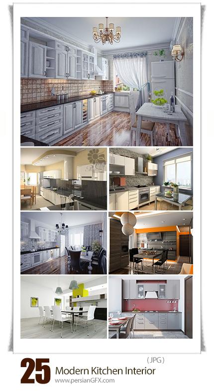 دانلود تصاویر با کیفیت طراحی داخلی آشپزخانه مدرن - Stock Photo Modern Kitchen Interior
