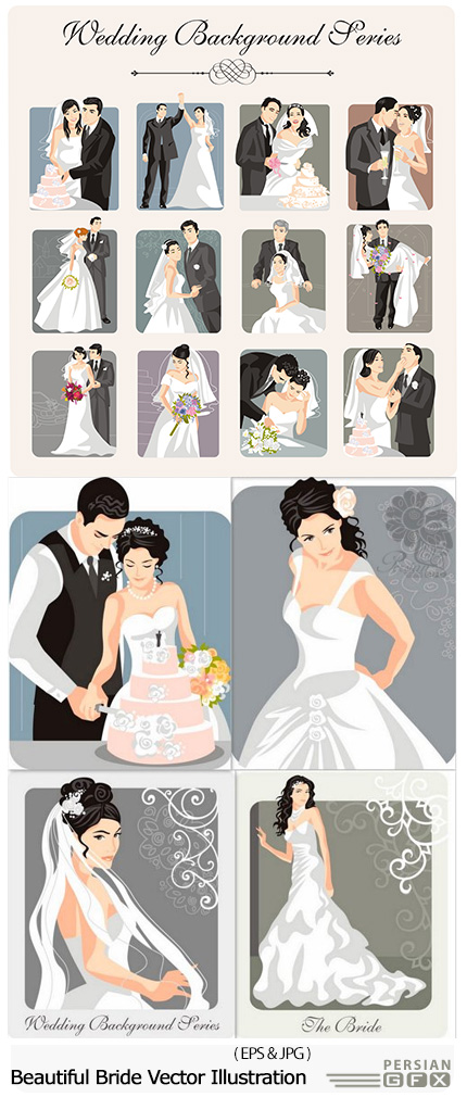 دانلود تصاویر وکتور عروس و داماد زیبا - Beautiful Bride Vector Illustration