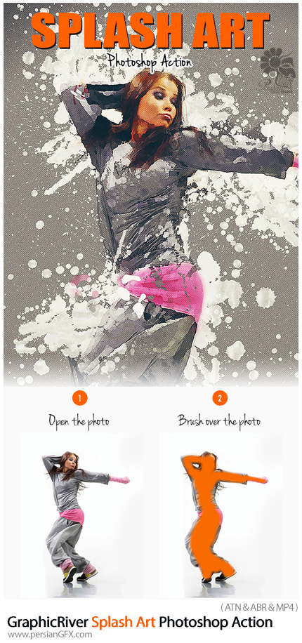 دانلود اکشن فتوشاپ ایجاد افکت هنری پاشیدن یا اسپری مایعات بر روی تصاویر به همراه آموزش ویدئویی از گرافیک ریور - GraphicRiver Splash Art Photoshop Action