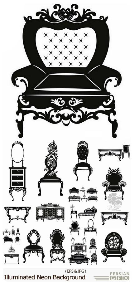 دانلود مجموعه تصاویر وکتور سایه مبلمان، میز و کنسول - Silhouette Collection Of Furniture Armchair Chair Sofa Bed