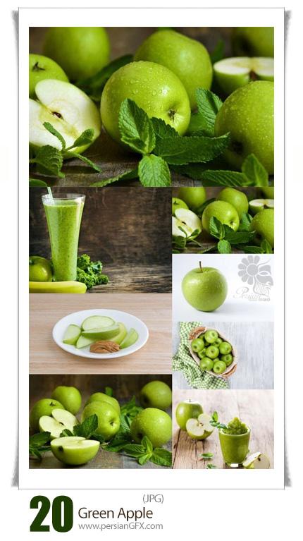 دانلود تصاویر با کیفیت سیب سبز و آب سیب - Green Apple