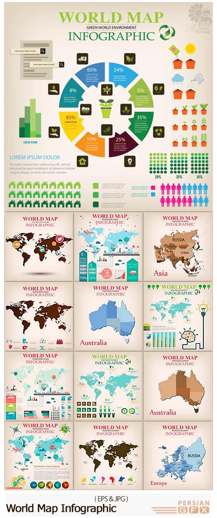 دانلود مجموعه تصاویر وکتور نمودارهای اینفوگرافیکی نقشه جهان - World Map Infographic