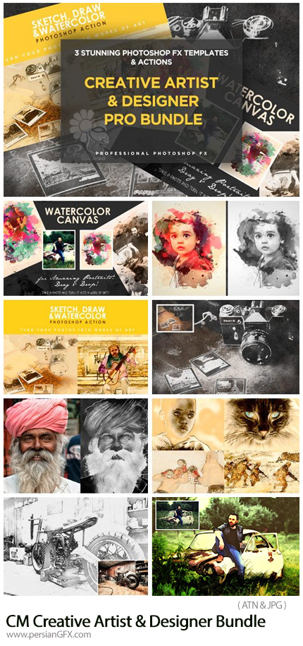 دانلود مجموعه اکشن فتوشاپ افکت های متنوع نقاشی - CM Creative Artist And Designer Bundle