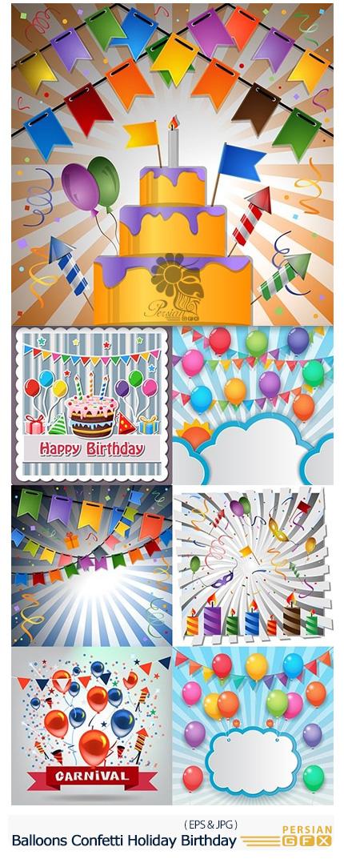 دانلود تصاویر وکتور عناصر تزئینی جشن تولد، بادکنک، کیک و شیرینی و کاغذهای رنگی متنوع - Balloons Garlands Confetti Holiday Birthday
