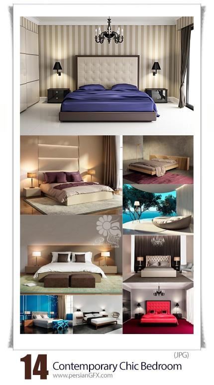 دانلود تصاویر با کیفیت طراحی داخلی اتاق خواب به همراه تخت خواب های کلاسیک - Contemporary Chic Bedroom