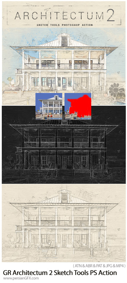 دانلود اکشن فتوشاپ تبدیل تصاویر طرح اولیه نقشه معماری به همراه آموزش ویدئویی از گرافیک ریور - GraphicRiver Architectum 2 Sketch Tools Photoshop Action