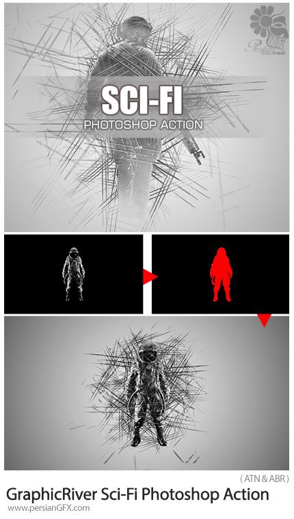 دانلود اکشن فتوشاپ ایجاد افکت علمی - تخیلی بر روی تصاویر از گرافیک ریور - GraphicRiver Sci-Fi Photoshop Action
